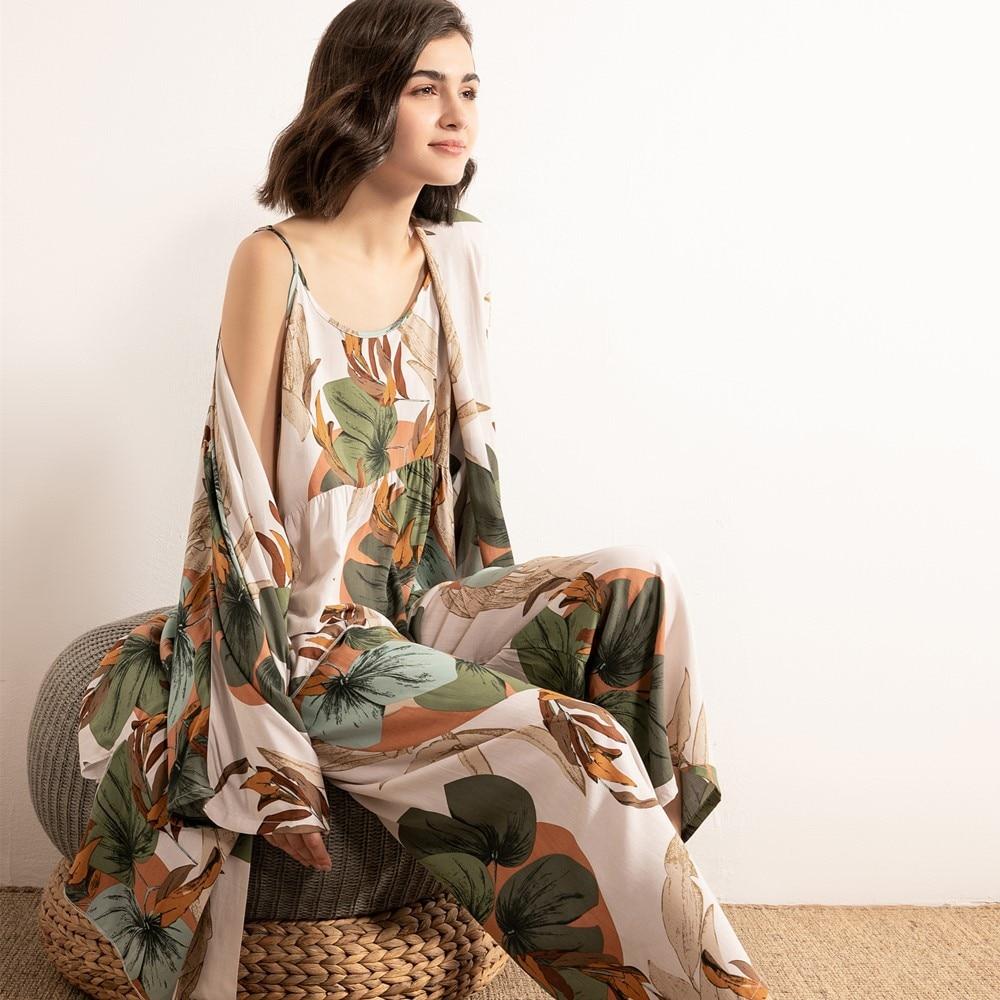 JULYS SONG 3 uds. Conjunto de pijamas de viscosa para mujer, pijama femenina con estampado Floral, ropa de dormir femenina elegante para primavera y verano, ropa de dormir fresca