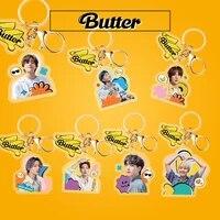 kpop bangtan boys keychain new album butter key chain kawaii cute cartoon pendant key chain high quality k pop bangtan boys