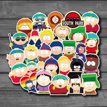 Pegatinas de dibujos animados SouthPark para ordenador portátil, guitarra, equipaje, monopatín, grafiti impermeable, calcomanía, juguetes clásicos para niños, 50 Uds.