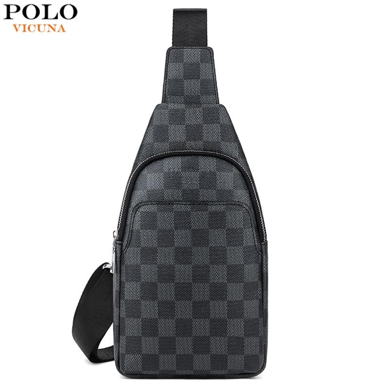VICUNA POLO Famous Brand Men Cross Body Bag Plaid Men Travel Chest Bags Fashion Sling Messenger Shoulder Bags