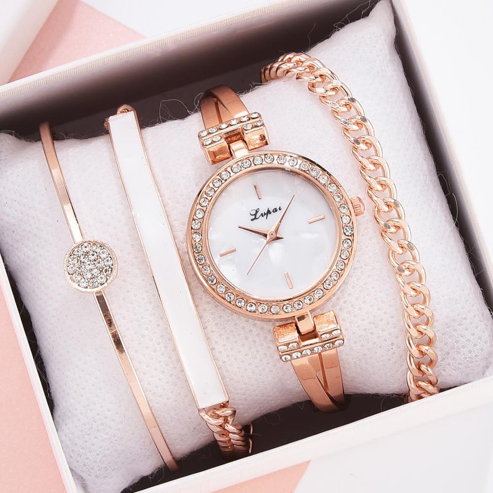 Lvpai Brand Luxury Rose Gold Diamond Women Bracelet Watches Fashion Quartz Ladies Casual Wrist Watch Set Dropshiping