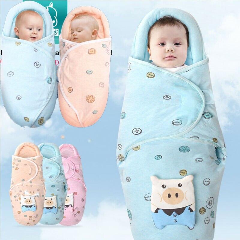 2019 neugeborenen Baby Schlafsack Weiche Decke Gedruckt Schlaf Wrap Baumwolle Bettwäsche Swaddle Baby Mädchen Jungen Nachtwäsche für 0-2Months