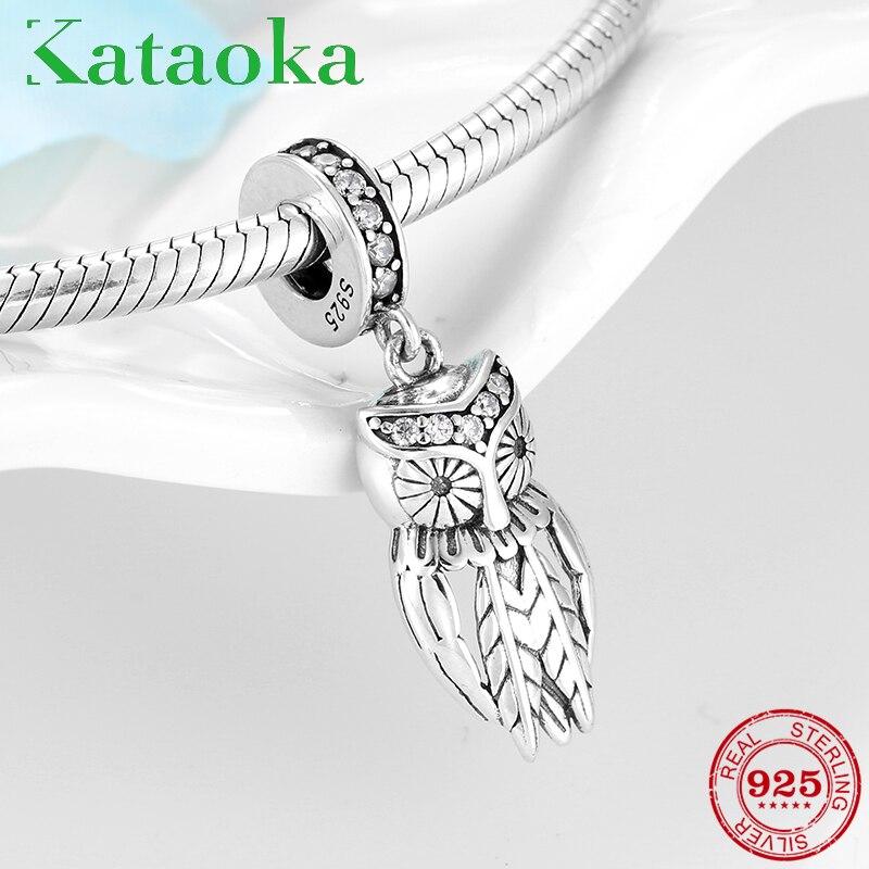 Heißer verkauf 925 Sterling Silber Charming eule klar CZ Anhänger Perlen passt Original Kataoka charms Armband Armreif DIY Schmuck