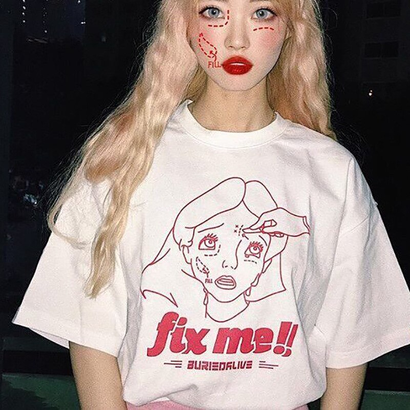 2020 verano camiseta Harajuku Mujer Tops sueltos impresión dibujos animados algodón FIX ME Tumblr camisetas playera Kawaii Vetement Femme
