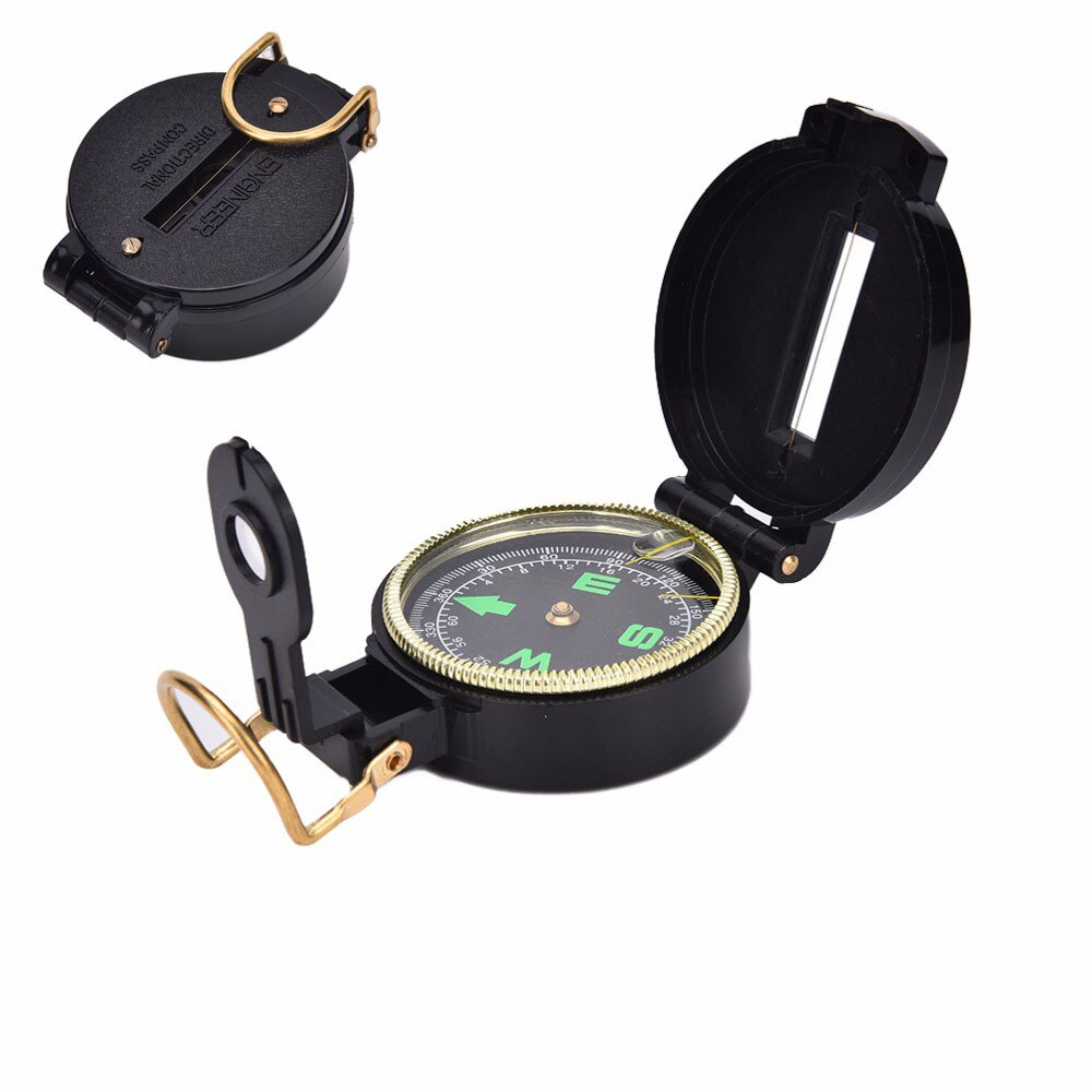 Survival Compass Lensatic Hiking High Army Style Guider Pointing Compass Luminous Quality Marching Camping Metal 1PC Military Me
