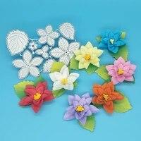 exquisite flowers 5 in 1 flowers 3 leaves metal cutting mold scrapbook photo album decoration diy handmade art