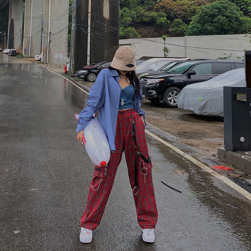 Pantalones de pierna ancha HOUZHOU Punk, pantalones a cuadros de cintura alta para mujer, pantalones a cuadros Vintage 2020, ropa de calle, moda de Hip Hop