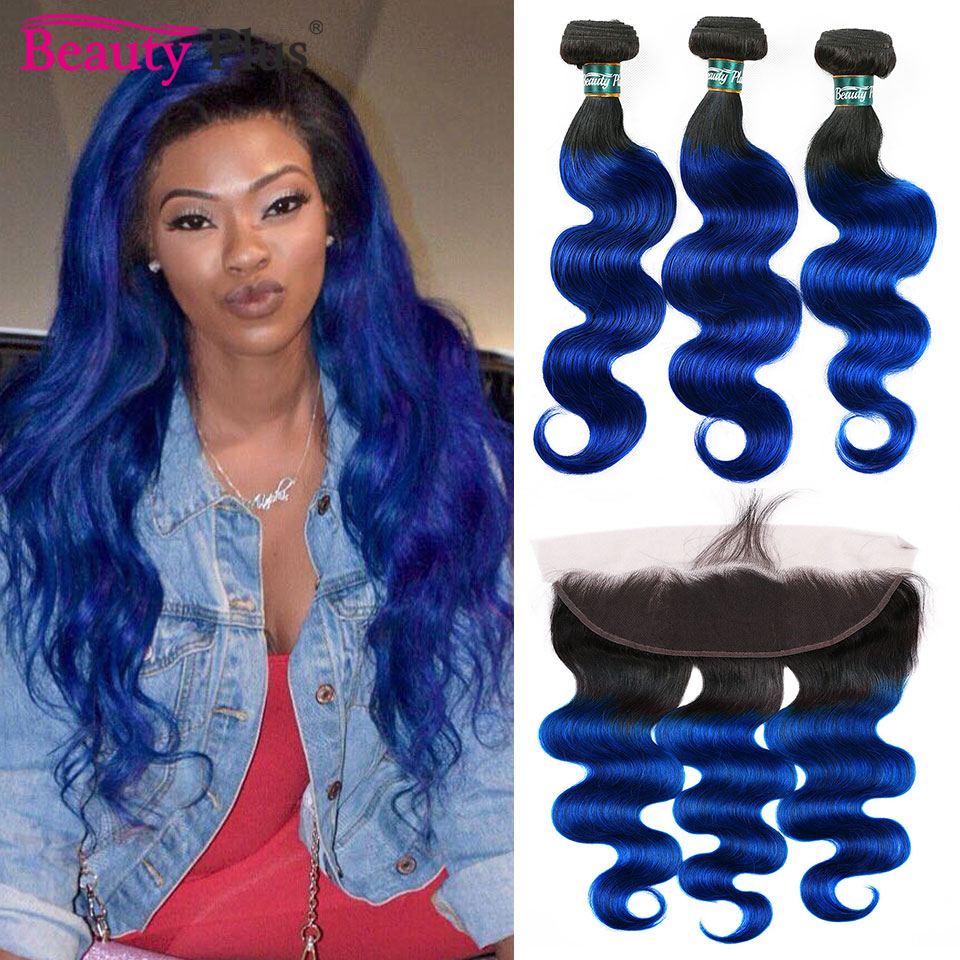 Blue Bundles With Frontals Ear To Ear Closure Peruvian Body Wave Remy Human Hair Weave Bundles 2/3 Pcs And 13x4 Lace Closures