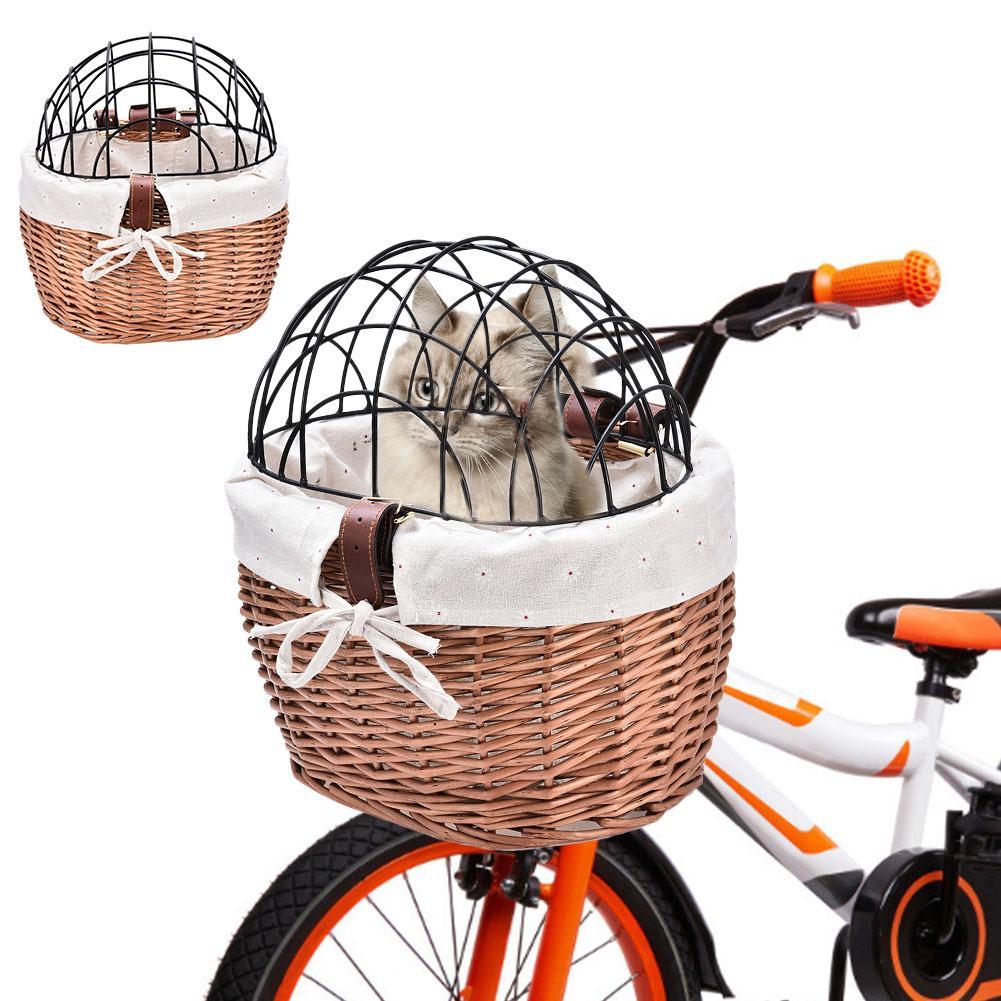 Cesta para transporte de perros, cesta de bicicleta tejida, cesta para manillar delantero, cesta para bicicleta pequeña para transporte de mascotas, para adultos, niños y niñas