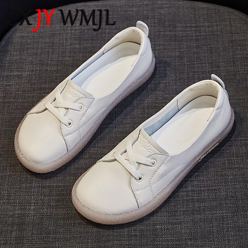 حجم كبير جلد طبيعي حذاء كاجوال النساء أحذية رياضية جلد البقر مبركن حذاء الخريف مريحة الشقق الإناث الأبيض حذاء رياضة 41