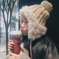 plush pure rabbit fur cute fur ball earmuffs lei feng hat thick warm knitted hat women 2021 winter outdoor warm hat woolen hat