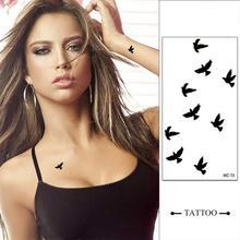 10 pièces poignet temporaire tatouage autocollants Body Art étanche petits oiseaux mouche tatouage motif tatouages autocollant pour hommes femmes TSLM1