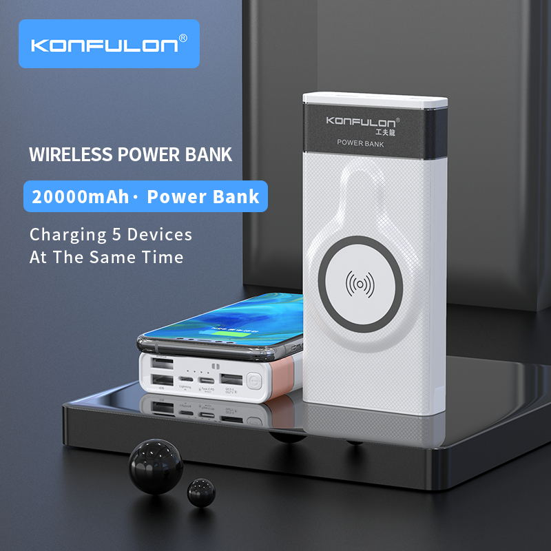 Wireless Power Bank 20000 mAh Wireless Charger Powerbank Quick 3.0 Portable Charging Slim Power bank