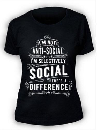 Im Not Anti Social camiseta de las mujeres divertidas S-3XL AS2 nuevas camisetas divertidas camisetas nuevas Unisex divertidas Tops