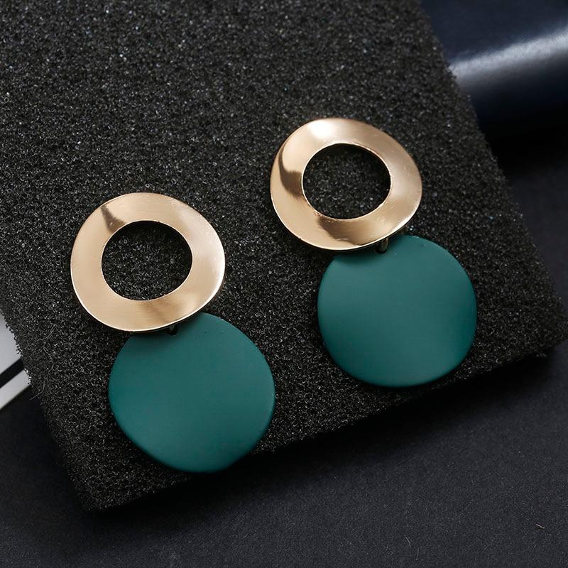 Korean New Fashion Round Women Dangle Earrings Geometric Gold Metal Pendant Hanging Dangle Earrings 2019 Modern Female Jewelry  - buy with discount