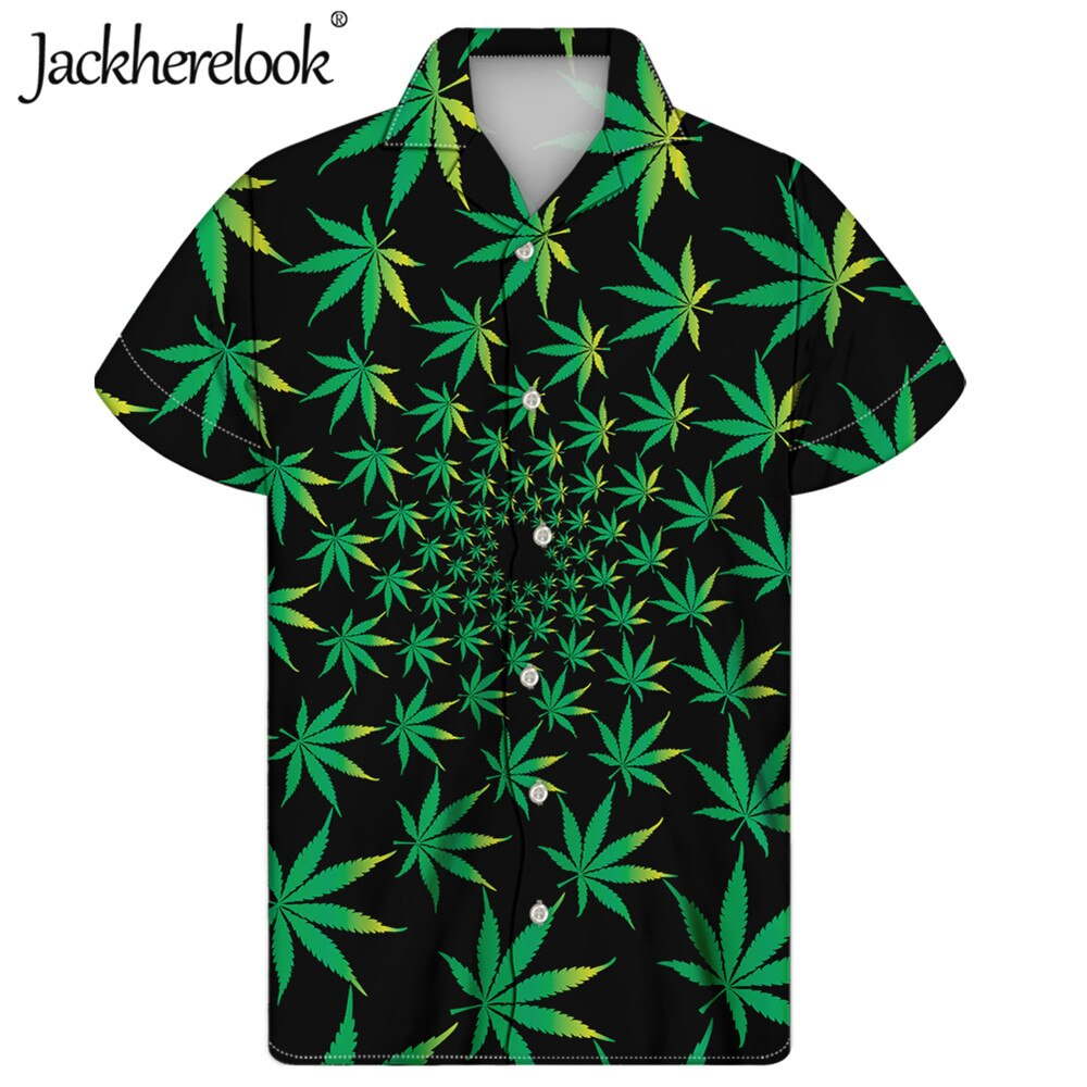 Jackherelook-Camisa de manga corta con estampado de hojas de cáñamo verde para...