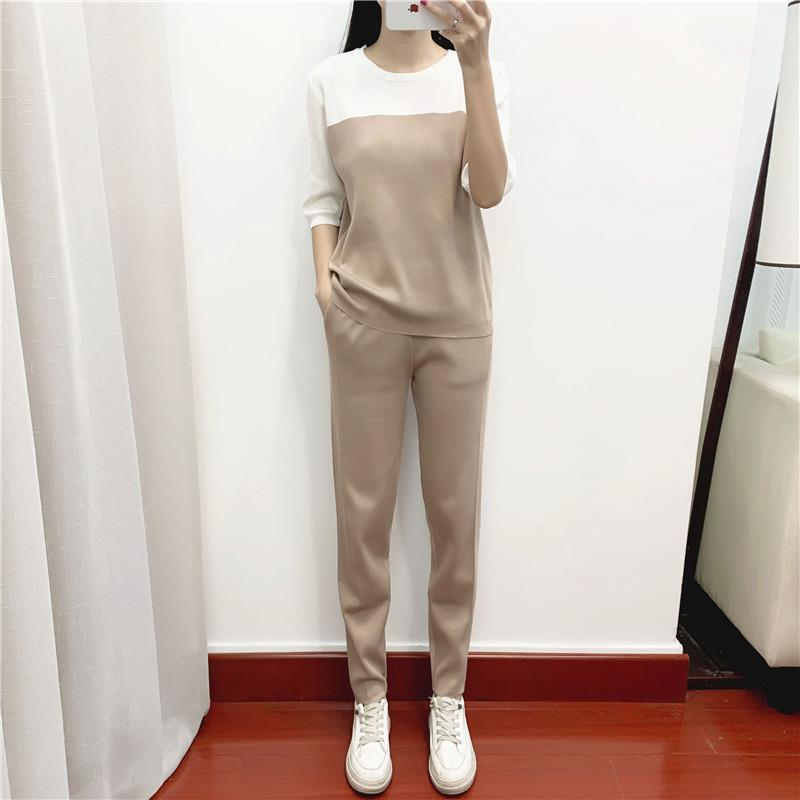 2021 Spring New Elegant Fashionable Two-Piece Suit Trendy Slimming Knitted Coat Three-Piece Suit for Women Spring and Autumn  - buy with discount