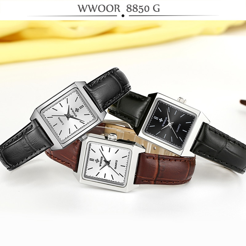 WWOOR Luxury Brand Rectangular Hand Clock Black Leather Women Quartz bracelet Watches For Women Fashion Small Watch reloj mujer enlarge