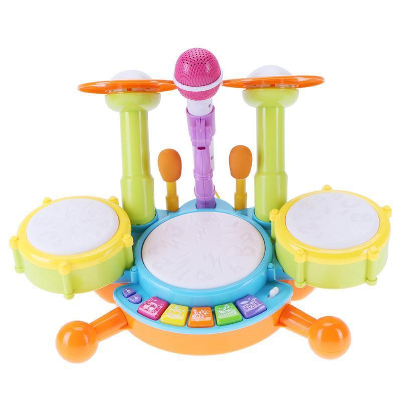 musical toys plastic drum with colorful lights 5 scales key type baby toy for 13 24 months kids educational toys for children Baby Musical Drum Toy Kids Jazz Drum Kit Electronic Percussion Musical Instrument Educational Gifts Toys For Children 3 Years