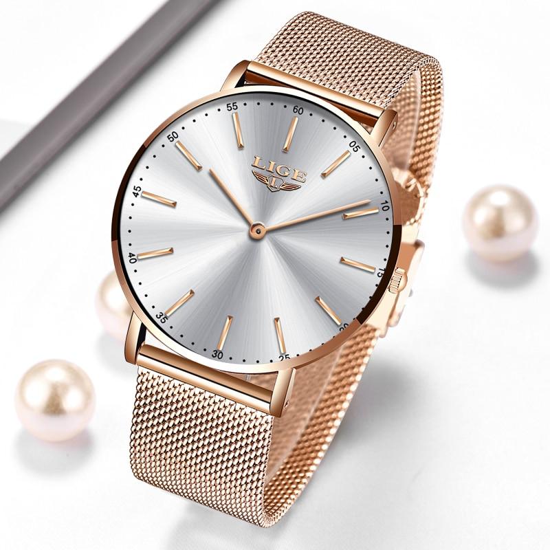 2021 New Rose Gold White Women Watch Casual Quartz Watches Ladies LIGE Top Brand Female Wrist Watch Girl Clock Relogio Feminin enlarge