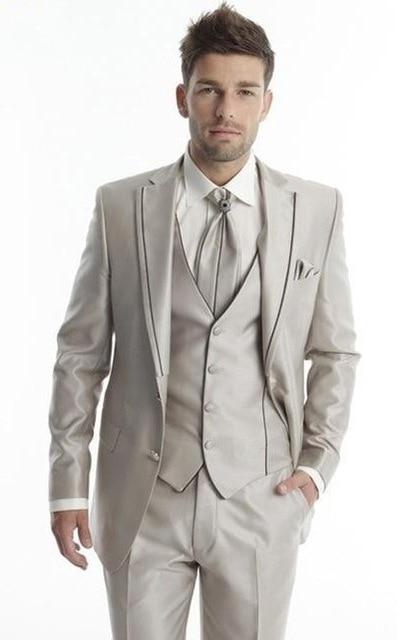 2020 Costume Homme Men Suit Blazer Masculino Slim Fit Mens Suits Custom Made Wedding Groom Three Pieces Suit(Jacket+Pants+Vest)