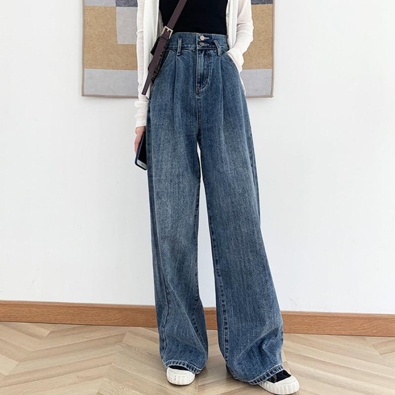 Pantalones vaqueros de talla grande Vintage de cintura alta pierna ancha recta suelta Extra larga para mujer S M L XL 2XL 3XL