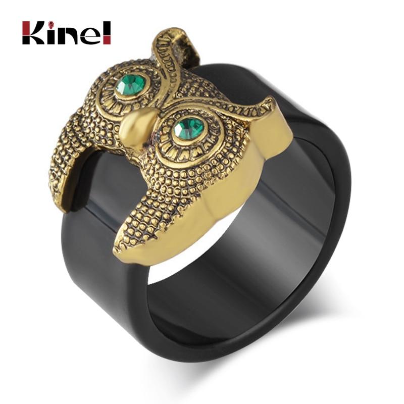 Moda Kinel, anillos dorados bonitos de búho para mujer, joyería Vintage