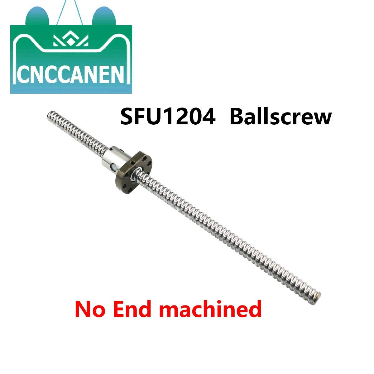Sfu1204 150 200 250mm 300 350 500 1500 mm rolou o parafuso da esfera c7 nenhuma extremidade fez à máquina rm1204 ballscrew & único flange ballnut peças cnc