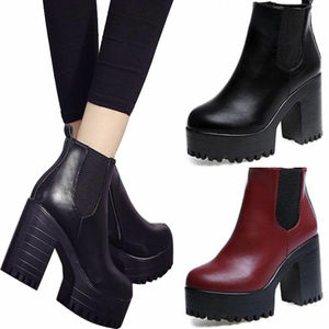 Womens Chelsea Platform Mid High chunky Block Heel Ankle Boots Shoes Slip e03