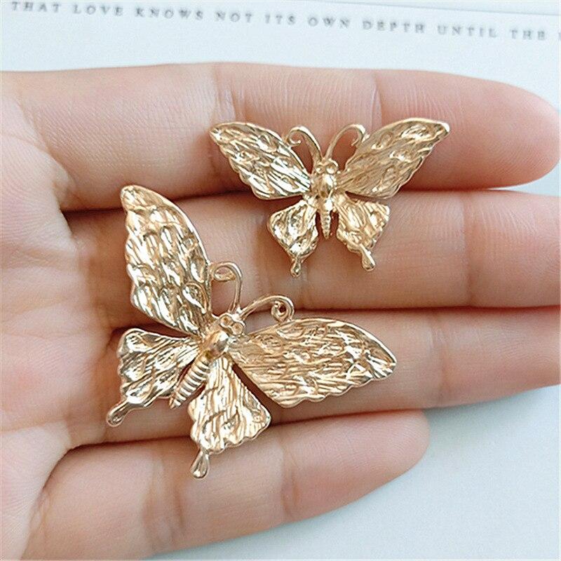10 pçs nova liga de zinco ouro borboleta encantos para descobertas de jóias bonito menina colar pingente brincos eardrop acessório