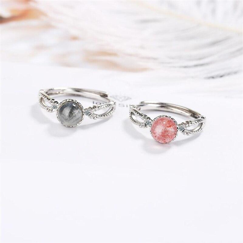 Suela de cristal de fresa con memoria, bonito Arte Dulce y fresco, Plata de Ley 925, anillos de apertura de tamaño variable para mujer SRI394