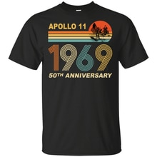 Apollo 11 50Th Anniversario Moon Landing 1969 - 2019 T-Shirt Vintage S-3Xl Stampa Personalizzata Tee Shirt