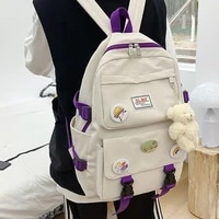 lovely multifunctional backpack teenage girl ring buckle portable travel bag female small schoolbag badge women backpacks 50
