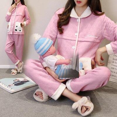 Aislamiento ropa postparto pijamas de otoño e invierno de algodón embarazada algodón de aire cálido grueso de impresión set de lactancia materna