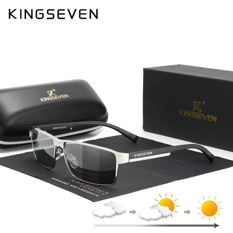 KINGSEVEN Fashion Photochromic Sunglasses Men Women Chameleon Polarized Pilot Sun Glasses Anti-glare