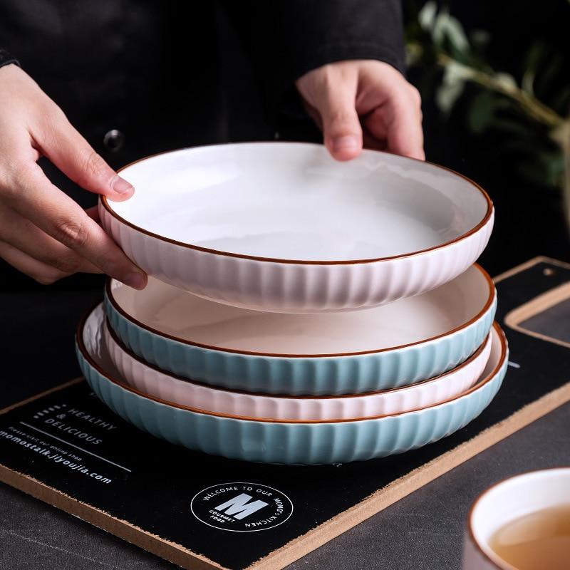 مجموعة أطباق سيراميك ذهبية فاخرة ، فواكه إفطار إبداعية ، طبق سمك على البخار ، أدوات مائدة مربعة للمطبخ والمطاعم
