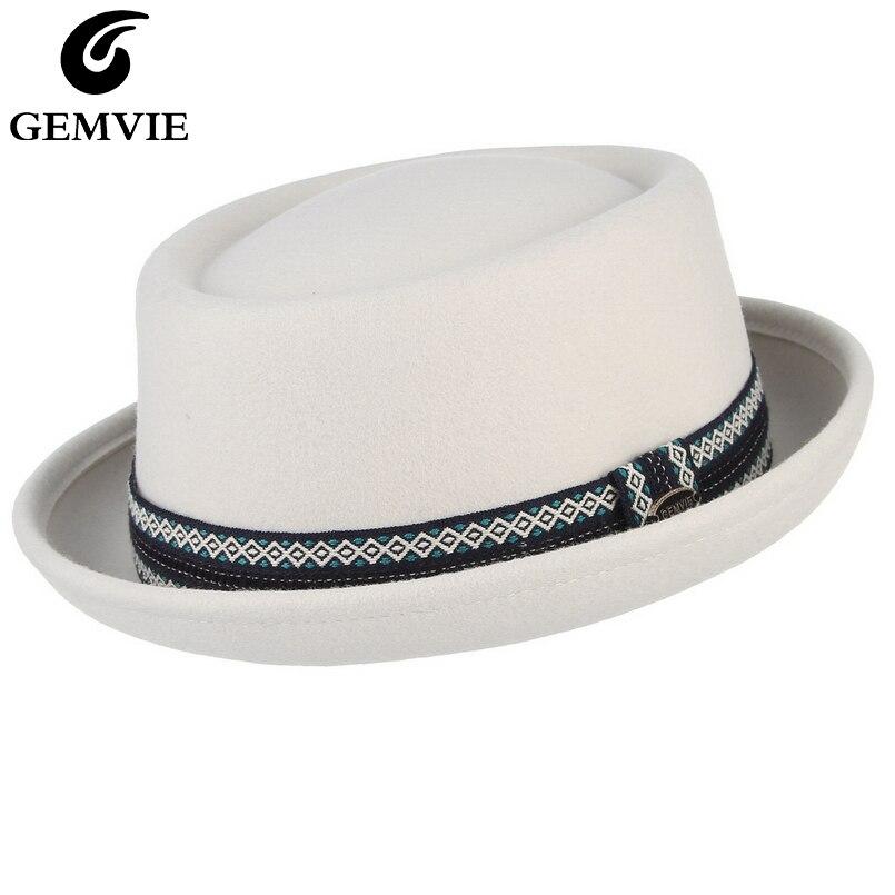 Gemvie 100% lã de feltro crushable masculino feminino branco porkpie chapéu curvo borda carne de porco torta lã chapéu unisex outono inverno fedora