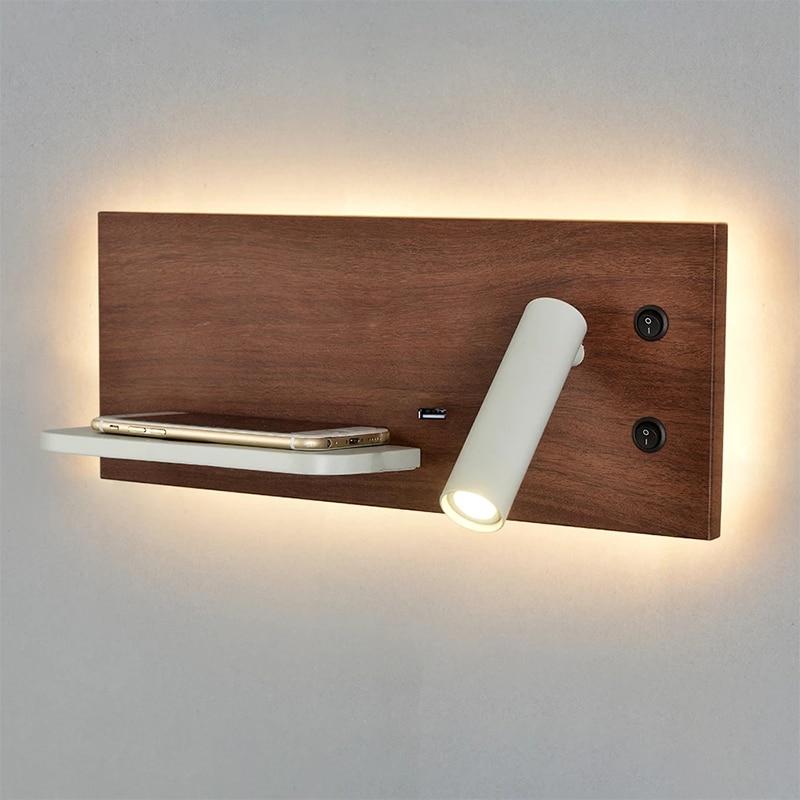 ZEROUNO-مصباح حائط USB LED مع شاحن لاسلكي ، رف ، لوح أمامي ، غرفة نوم ، دور علوي ، غرفة نوم ، مصباح حديث ، سرير خشبي