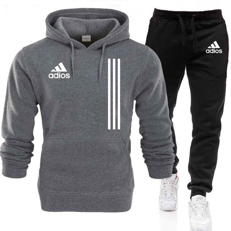 2021New Adios Men's Autumn Winter Sets Zipper Hoodie+Pants Pieces Casual Tracksuit Male Sportswear G