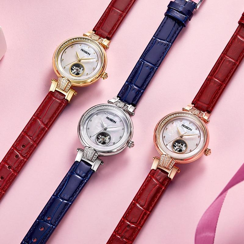 ROSDN genuine watch ladies hollow automatic mechanical female watch fashion trend ceramic waterproof watch enlarge
