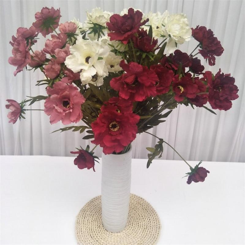 "10 piezas falso tallo corto Hibiscus 26,77 ""de longitud simulación Hibiscuses flores para boda hogar decorativo Flo Artificial"