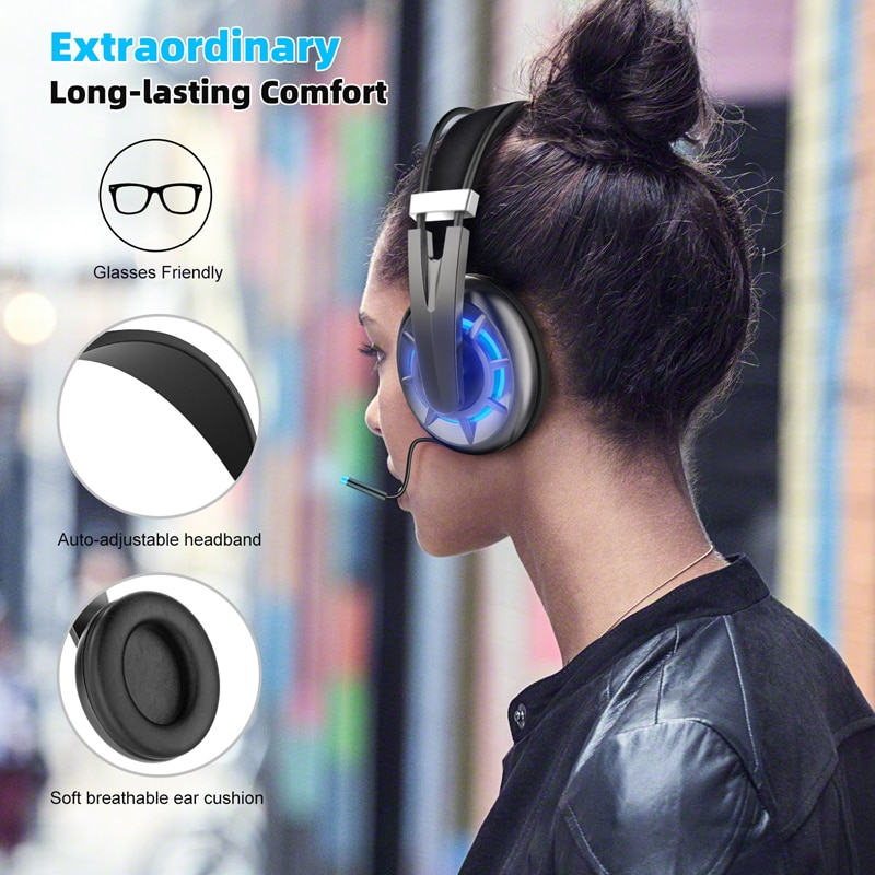 Wireless+3.5mm Dual Mode Wireless Headphones Gaming Headset Earphone Headphone with Mic Light Weight for PS4 PS5 XBOX PC mobile enlarge