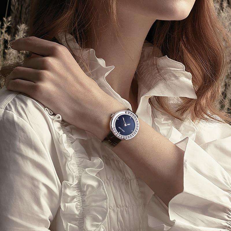 AGELOCER Diamond Watch For Women Luxury Top Brand Ladies Gold Sapphire Watch Analog Quartz Movt Unique Female Black Watch enlarge