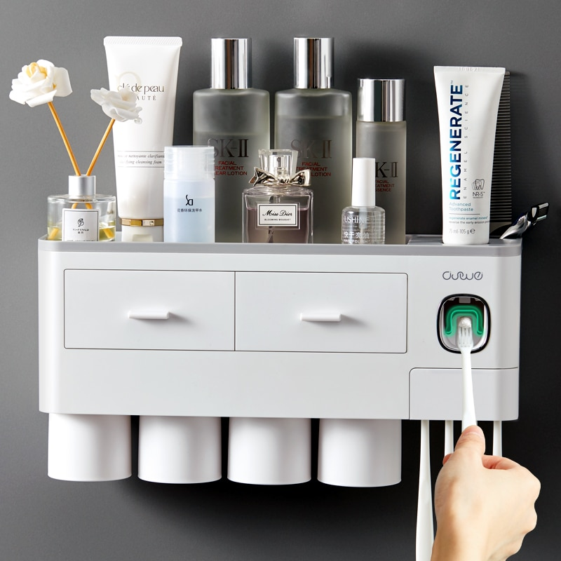 AdsorptionMagnetic  Inverted Toothbrush Holder Automatic Toothpaste Dispenser With Cup Toothpaste Bathroom Accessories Set enlarge