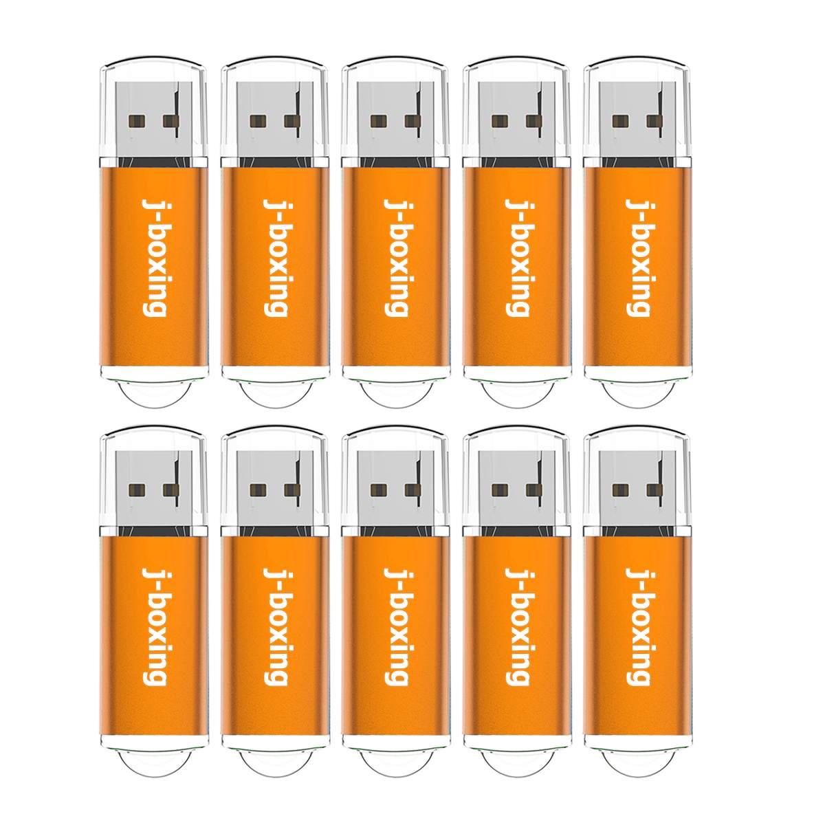 J-boxing 10PCS USB Flash Drive Bulk 64MB 128MB 256MB 512MB Small Cacapity Thumb Drive Jump Drive Memory Stick Pen Drives Orange