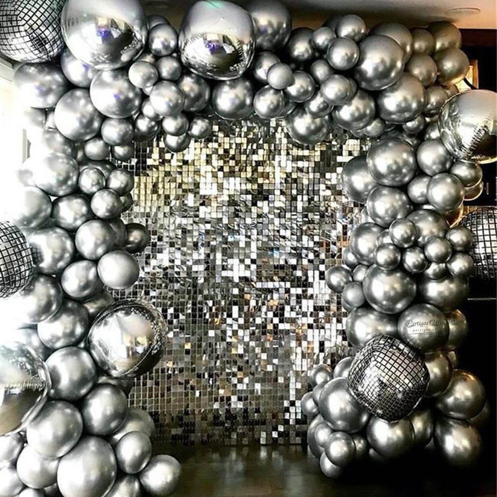 137Pcs Silver Disco Foil Balloons Garland Arch Chrome Metal Globos Wedding Birthday Party Decoration Retro 80s Disco Party Decor