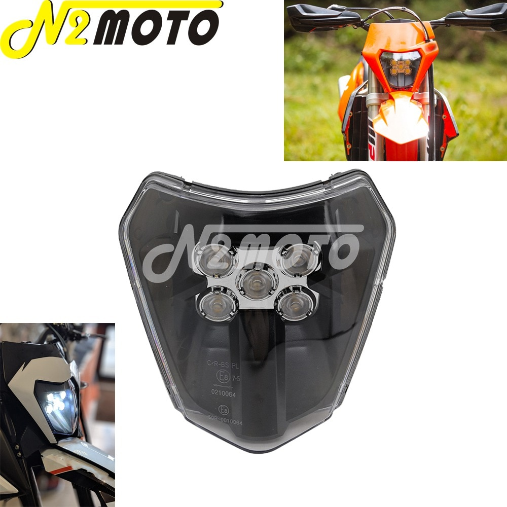 Motocross Enduro Dual Sport E8 Emark LED Headlight for EXC XCF XCW TE TC FE 125 250 300 350 450 530 690 SMR XC-W Six Days
