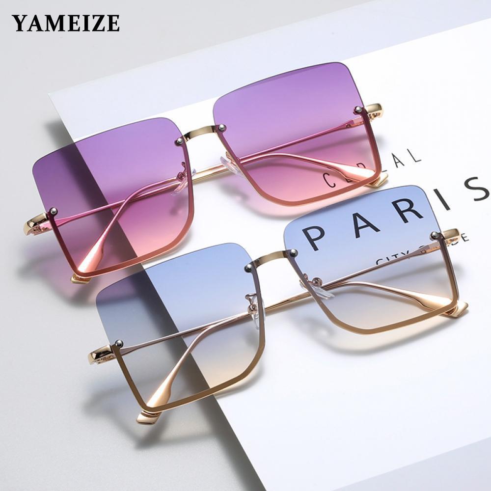 Metal Semi-rimless Sunglasses Women Retro Oversized Square Sun Glasses Vintage Female Lady Fashion R