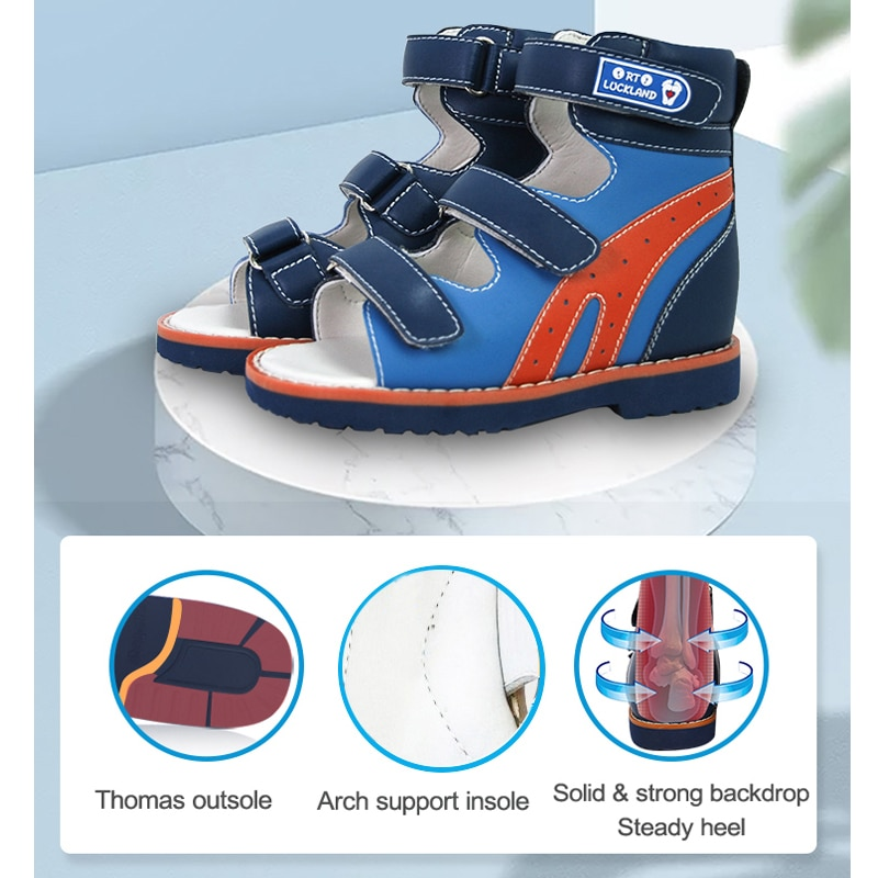 Boys Summer Sandals Children Kids Orthopedic Flatfoot Shoes With Arch Suppport Insoles Blue Fashion Leather Walking Footwear enlarge