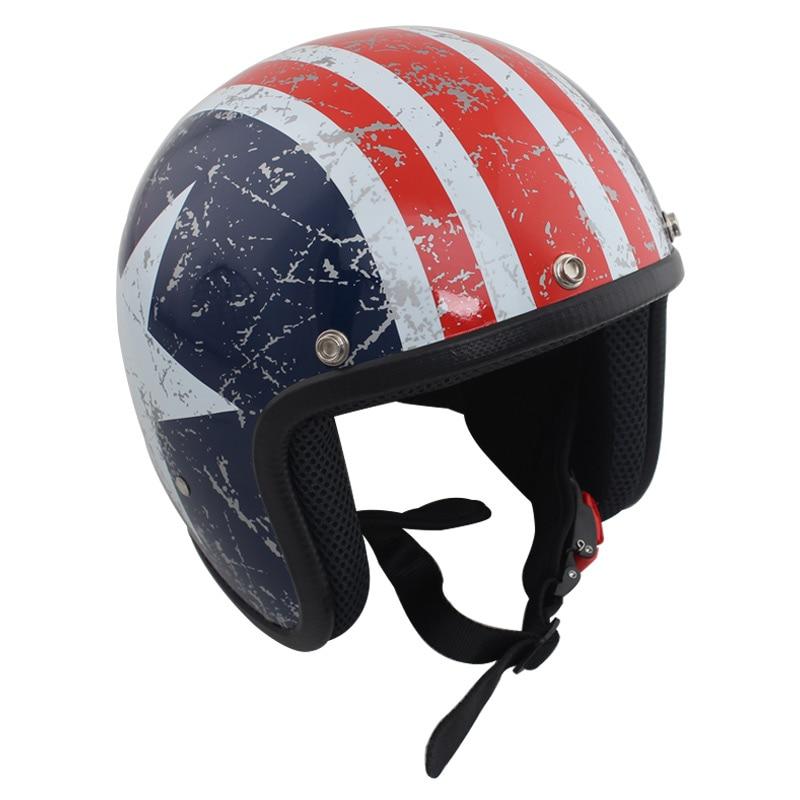 Casco Universal Jet casco clásico de cara abierta Retro 3/4 medio casco estándar bandera americana M L XL casco clásico